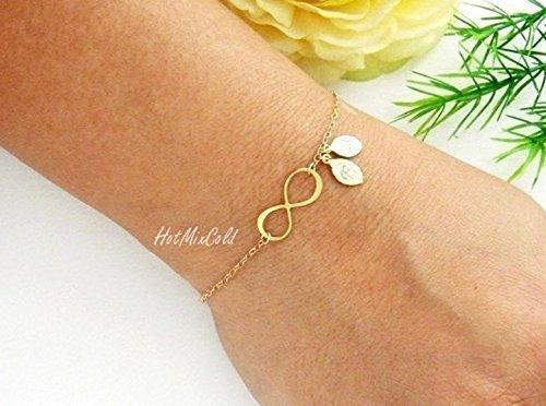 Personalized Infinity Bracelet / Initial Couple Jewelry, Monogram Bracelet / Mother Days Bracelet Gold, Silver, Rose Gold Fill