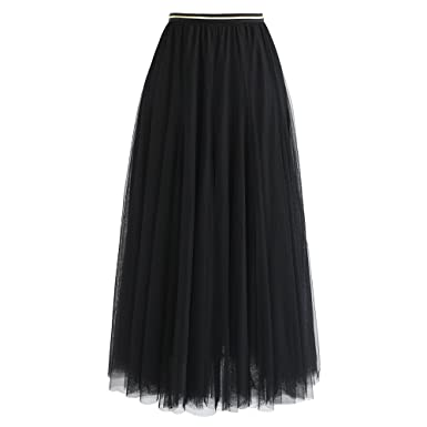 c054490e3 Chicwish Women's Black Layered Mesh Ballet Prom Party Tulle Tutu A-Line  Maxi Skirt,