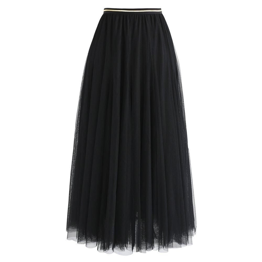 Chicwish Women's Black Layered Mesh Ballet Prom Party Tulle Tutu A-Line Maxi Skirt, Black, Small/Medium
