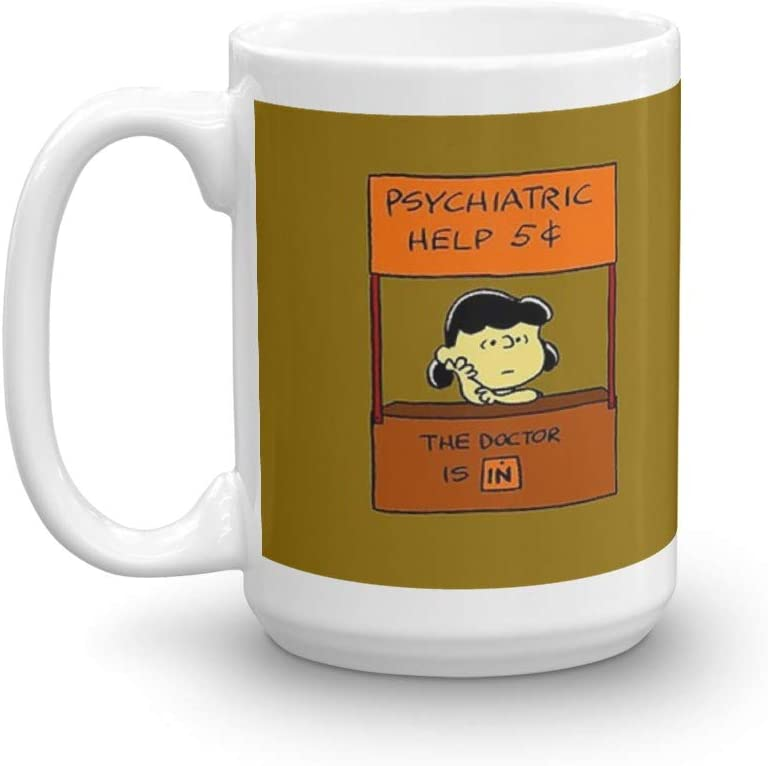Lucy Van Pelt: The Doctor Is In. 15 Oz Ceramic Glossy Mugs Gift For Coffee Lover Unique Coffee Mug, Coffee Cup. 15 Oz Ceramic Glossy Mugs Gift For Coffee Lover
