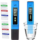 Deronweer Digital PH Meter, PH Test water 0.01 PH High Accuracy Water Quality Tester with 0-14 PH Measurement Range for Household Drinking, Pool and Aquarium Water PH Tester Design with ATC (Blue)