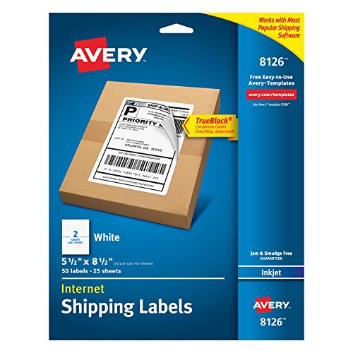 Avery Shipping Address Labels, Inkjet Printers, 50 Labels, Half Sheet Labels, Permanent Adhesive, TrueBlock (8126)