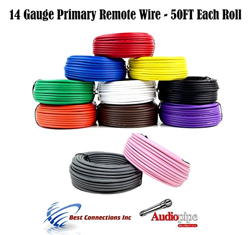 Ga Primary 500 10 Wire - 14 Gauge 50 Feet 10 Rolls Primary Remote Wire Power Ground Auto Cable 500' Total