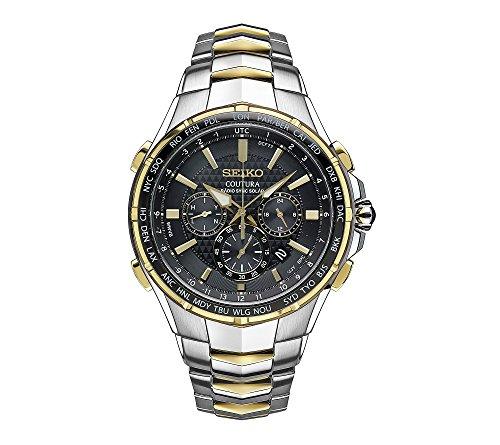 - Seiko Men's Radio Sync Solar Chronograph Two-Tone Watch with Black Dial