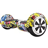 M MEGAWHEELS 6.5' Electric Scooter Self Balancing Scooter board for Kids with Built-in Wireless Speaker, LED Light and UL Certified (Hip-hop)