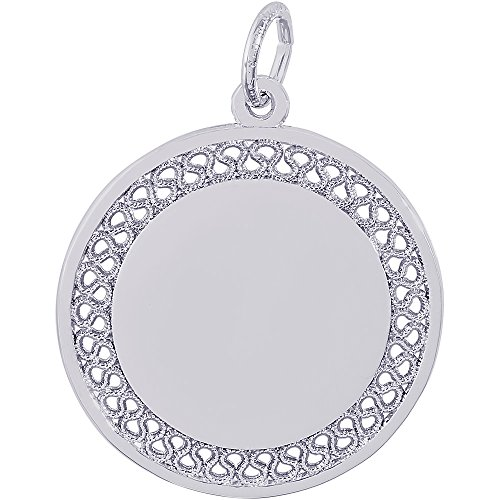 Rembrandt Charms 14K White Gold Filigree Disc Charm (0.9 x 0.9 inches) (Charm Disc Filigree)