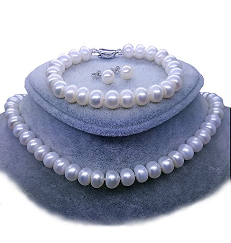 JYX Freshwater Pearl Necklace Set 11-12mm White Pearl Necklace Bracelet and Earrings Jewelry ()