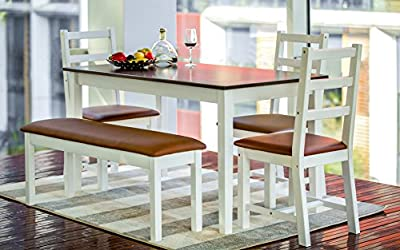 5-piece Dining Sets,4 Person Dinning Table and Cushion Seat Dinning Chairs - Dark Espresso