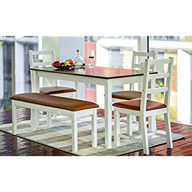 Merax 5-Piece Solid Wood Dining Set with Bench and 3 Chairs Dining Dinette Table Chairs & Bench Setin Coffee/White (5 pcs)