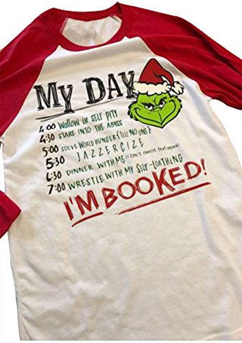 Amazing Speed Women Christmas Grinch Letters Print I'm Booked Baseball T-Shirt Tops (White, (Life Size Grinch)
