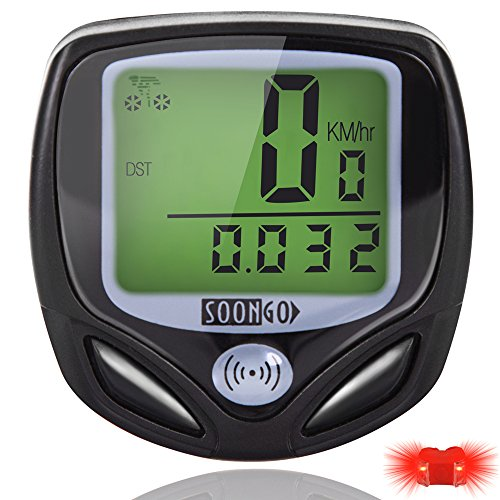 Computer Waterproof (Bike Computer Speedometer Wireless Waterproof Bicycle Odometer Cycle Computer Multi-Function Large LCD Back-light Display with Cycling Safety Flashlight by SOONGO)