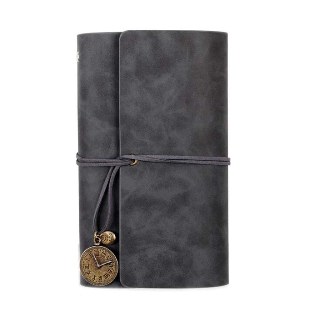 Notebook Writing Leather A6 Travel Diary, Loose-Leaf Hand Book Retro Notepad, Diary Organizer, 2 Pcs Students (Color : Dark Gray)