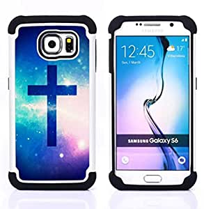 - OMG God Cross Jesus Space - - Fulland Deluxe Hybrid TUFF Rugged Shockproof Rubber + Hard Case Cover FOR Samsung Galaxy S6 G9200 Queen Pattern