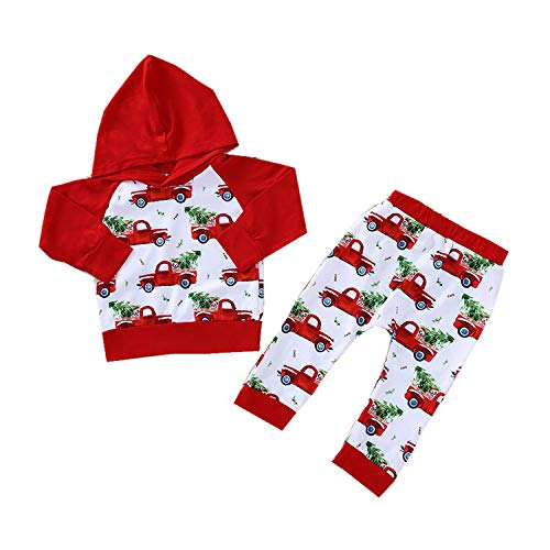 2Pcs Christmas Newborn Baby Boys Girls Outfits Long Sleeve Car Hoodie Tops + Christmas Trees Pants Clothes Set (Red, 12-18 Months) -