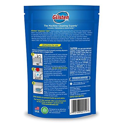 Glisten - DP06NPB Disposer Care Foaming Drain/Pipe Cleaner, 4 Use, White, Blue, 4 per Pack