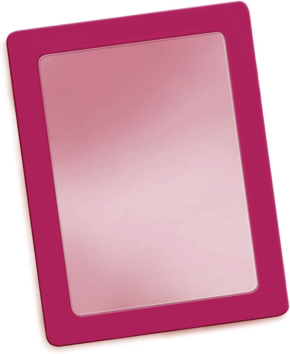 Katzco Pink 5 x 7 Inch Magnetic Mirror - Ideal for School Locker, Refrigerator, Home, Workshop or Office Cabinet - Pink