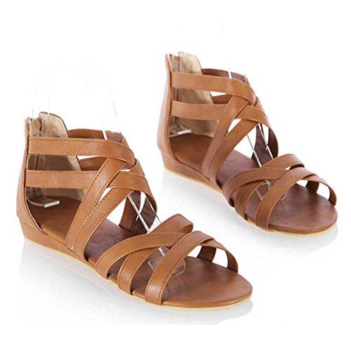 Yying Plage Romain Femmes Sandales Toe Marron Chaussures Peep Chaussures Chaussures Plates Sandales Sandales éclair Roma Été Strappy Fermeture Plate 6w6qXxrF