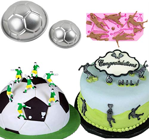 Set Of 3 Soccer Ball Silicone Mold Soccer Player Silicone Mold Sports Balls Mold Baseball Cake Mold for Fondant Chocolate Clay Resin ()