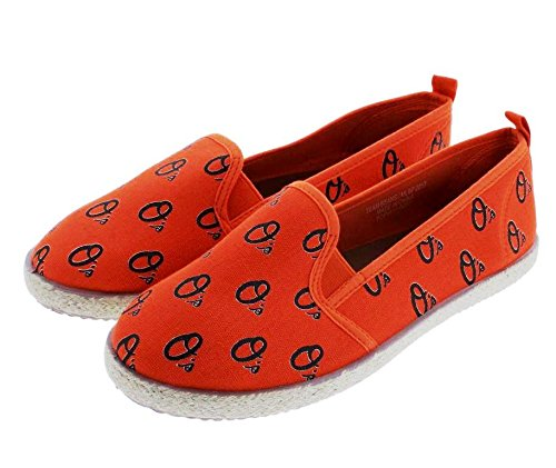 (FOCO MLB Baltimore Orioles Women's Espadrille Canvas Shoes, Medium, Team Color)