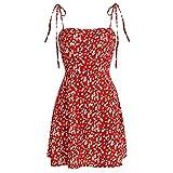 ZAFUL Women's Mini Dress Spaghetti Straps Sleeveless Boho Beach Dress (S, Lava Red)