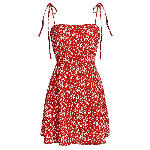 ZAFUL Women's Mini Dress Spaghetti Straps Sleeveless Boho Beach Dress (S, Lava Red) ()