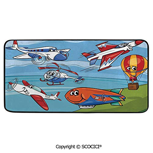 Rectangle Rugs for Bedside Fall Safety, Picnic, Art Project, Play Time, Crafts, Large Protective Mat, Thick Carpet,Kids,Airplane Cartoons Toy Planes Jets Helicopter and Hot Air Balloon,39