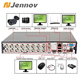 Jennov 16 Channel D1/960H Surveillance Digital Video Recorder Network DVR System For Cctv Security Camera Mobilephone Remote View Motion Detection With HDMI Cable
