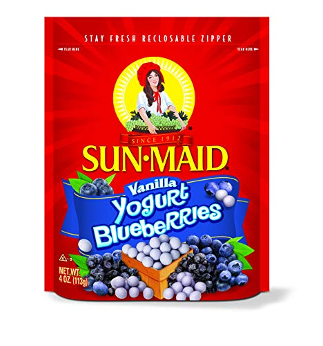 Sun Maid Yogurt Blueberries, Vanilla, 4 Ounce (Blueberry Yogurt Covered Raisins)