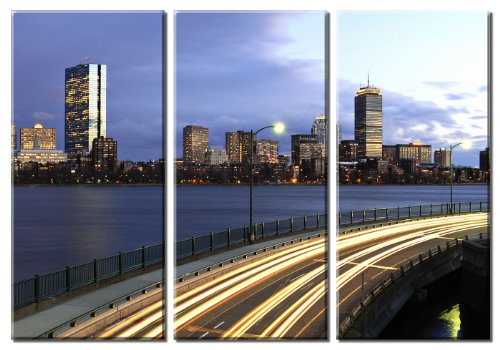 Picture Sensations Framed Huge 3-Panel Boston Skyline Downtown Giclee Canvas Art