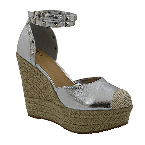 ESSEX GLAM New Womens High Wedge Heel Platform Sandals Ladies Ankle Strap Summer Espadrilles Silver bqooipOqq