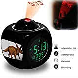 Projection Alarm Clock Wake Up Bedroom with Data and Temperature Display Talking Function, LED Wall / Ceiling Projection, Dinosaur-121.21_Anchiceratops dinosaur