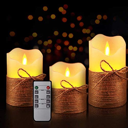 Yinuo Mirror Flameless Candles, LED Battery Operated Ivory Pillar Candles Real Wax Flickering Moving Wick Electric Candle Sets with Hemp Rope Remote and Cycling 24 Hours Timer, 4 5 6 Pack of 3