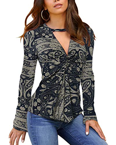 YOINS Women Sexy Long Sleeve V Neck Tops Slimming Lace Design Blouses Cross Front Solid Tunic Tops Cut Out T Shirts
