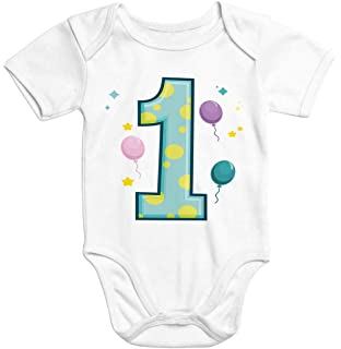 Kurzarm Baby-Body mit Aufdruck erster Geburtstag eins 1 Jahr Zahl Bio-Baumwolle