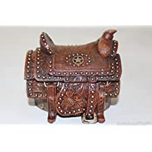 Western Cowboy Cowgirl Lone Star Hand Tooled Leather Saddle Trinket Jewelry Box Rusic Home Decor