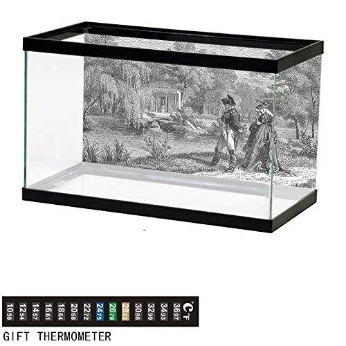 Suchashome Fish Tank Backdrop Vintage,Napoleon Woman Garden,Aquarium Background,48