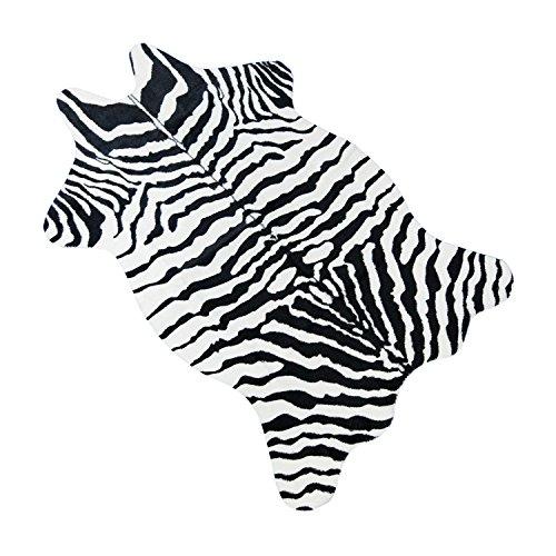 Bioeilife Faux Fur Rug, Animal Fur Pattern Print Carpet Latex Backing, 3.6x2.5 Feet (Zebra Print)