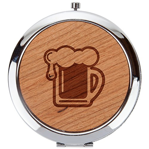 - Beer Pint Wooden Compact Mirror, Double Sided Mirror, 1X And 5X Magnification, Pocket-Sized Mirror, Circular, Perfect For Travel