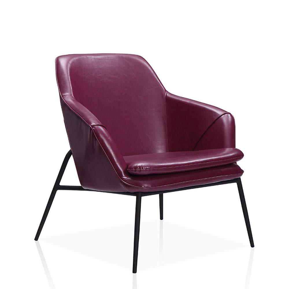 Amazon.com: Sillón de piel estilo moderno nórdico, silla de ...