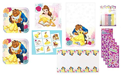 Beauty and the Beast Birthday Party Supply Bundle for 16 includes Dessert Plates, Napkins, Table Cover, Tattoos, Stickers, Candles]()