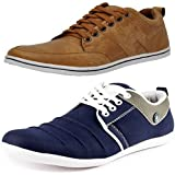 T-Rock Men's Combo Pack Sneaker Tan & Blue Casual Shoes