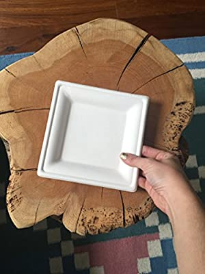 Susty Party 6-Inch Compostable Square Plates, 50-Count, Sugarcane Fiber (Bagasse) Tree-Free Heavy Duty Disposable Biodegradable Plate for Dessert, White