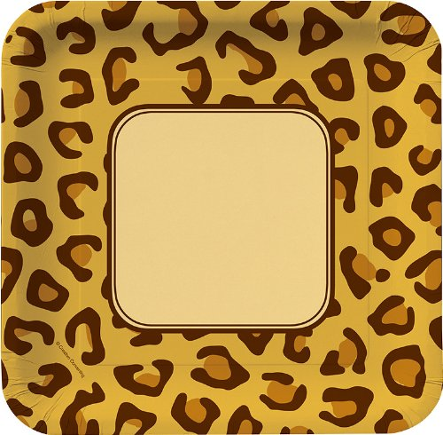 8-Count Square Paper Dinner Plates, Animal Print -