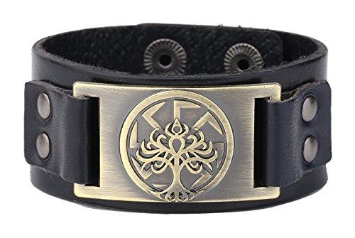 Gold Studded Leather Snap - Wristband Cuff Leather Bracelet Men Vintage Punk Slavic Tree of Life Seal Charm Adjustable Cuff Studded Hidden Snaps (Antique Gold,Black)