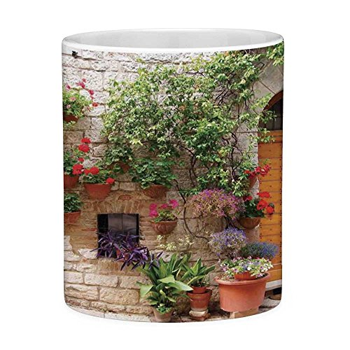 Lead Free Ceramic Coffee Mug Tea Cup White Tuscan 11 Ounces Funny Coffee Mug Begonia Blossoms in Box Window Wooden Shutters Brick Wall Romagna Italy Orange White Green