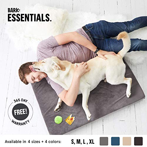 BarkBox X-Large Jumbo Gray Ultra Plush Orthopedic Memory Foam Dog Bed or Crate/Kennel Mat | Removable Washable Cover - Free Surprise!