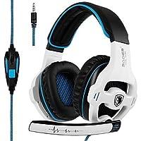 SADES Auriculares para videojuegos de 3.5mm sonido estéreo Audífonos para PS4Xbox One PC MAC teléfonos, Negro 1