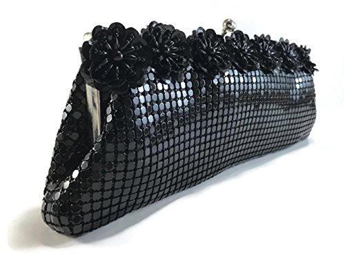 Party clutch Wedding purses shoulder Prom Black with Mesh Vintage a handbags evening for Womens Metal strap chain 7HXI6F