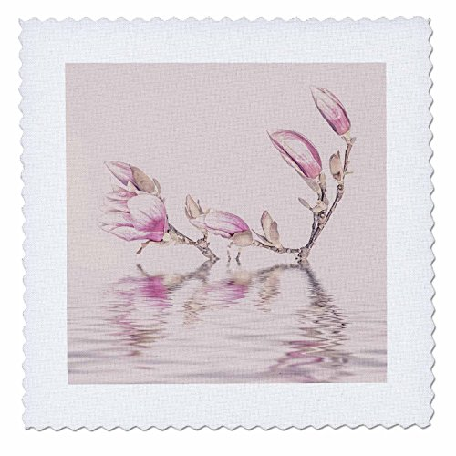 3dRose Andrea Haase Illustration Floral - Magnolia flower with water mixed media art - 16x16 inch quilt square (qs_264786_6) (Magnolia Zen)