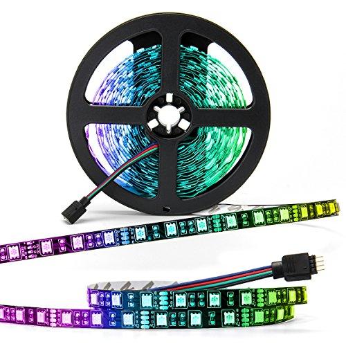 SUPERNIGHT - Black PCB 5050 RGB LED Strip -,16.4ft 60Leds/M, 300 Leds Color Changing LED Lights, Non-waterproof Flexible Rope Lighting Decoration (Black PCB Strip)